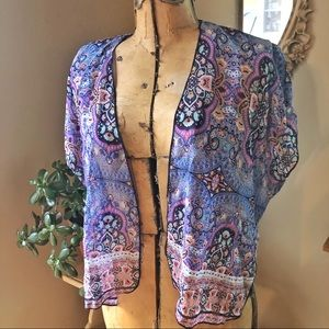 Boho Dream blue purple coral sheer kimono cardigan